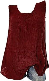 VECDY Blusas para Mujer Elegantes Tallas Grandes, Camiseta Sin Mangas Holgada del Chaleco Algodon Lino Camiseta Suelto Verano Tops Casual Fiesta T-Shirt Ajustable