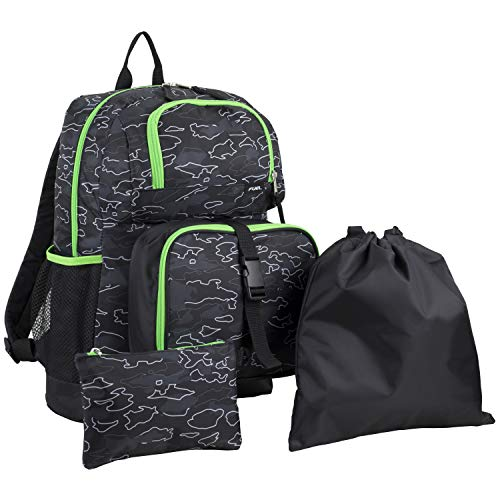 Fuel Everyday 4-Piece Combo Backpack with Lunch Box, Pencil Case and Shoe Pouch - Black/Lime Green/Camo Outline Print