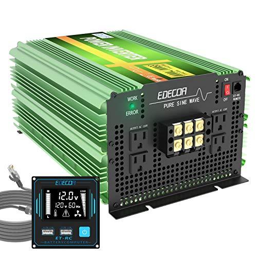 EDECOA 3500 Watt Pure Sine Wave Power Inverter DC 12V to 120V 110V AC with LCD AC Terminal Block (3500W/12V V3.0 (ET-RC Remote))