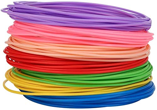 Wghz Filamento in plastica PCL PLA ABS da 1,75 mm per Stampante 3D Penna 3D 20 Colori 5 Metri Materiali di consumo per Stampa 3D confezionati sottovuoto Colore: 50 M 10 Colori PCL