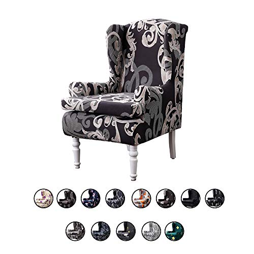 SearchI Wing Chair Cover, Spandex Stretch Printed Slipcovers for Wingback Chairs Sofa Chair Armchair Sofa with Arm Covers 2-Pieces Spandex Elastic Slip Cover Modern Floral Furniture Protector