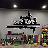Pared del club de fitness, deportes, fitness, gimnasio, salud, músculo, mancuernas, calcomanía de pared, vinilo adhesivo de pared Art Deco de gimnasio A3 86x57cm