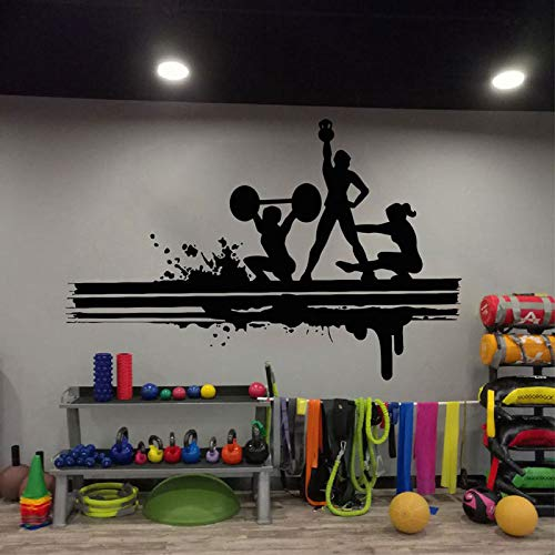 Fitness Club Etiqueta de portes Fitness Gimnasio Músculo saludable Mancuerna Etiqueta Vinilo Gimnasio Arte Etiqueta Etiqueta de fondo A2 86x57cm
