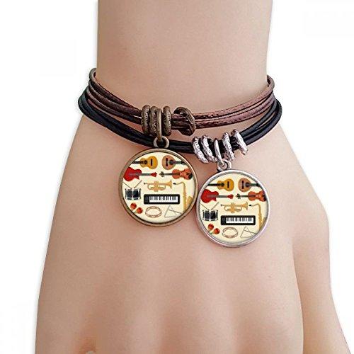 DIYthinker Damen Electric Piano Posaune Gitarren-Musik-Armband Doppel-Leder-Seil-Armband Paar Sets
