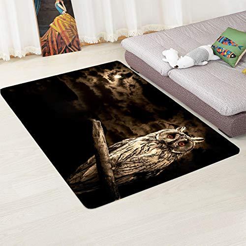 LGXINGLIyidian Teppich Eule Auf Einem AST In Der Nacht 3D Druckte Rutschfesten Weichen Teppich Der Wohngestaltung 80X150Cm