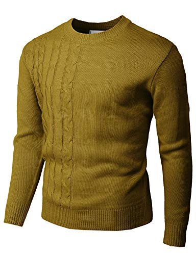 H2H Mens Casual Slim Fit Pullover Sweaters Knitted Long Sleeve Various Styles Olive US L/Asia XL (KMOSWL293)