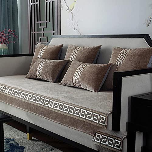 JIAYAN Chenilla Nuevo cojín Chino de Madera Maciza para sofá Cuatro Estaciones cojín Universal Antideslizante sofá, Color Curry, 70x70cm