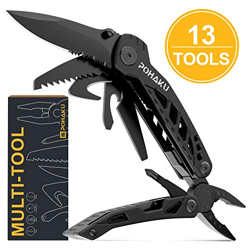 Multitool Knife, POHAKU 13 in 1 Portable Multifunctional Multi tool with 3' Large Blade, Spring-Action Plier, Safety Locking Design, and Durable Pouch for Outdoor, Camping, Fishing, Survival and More