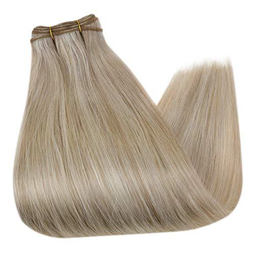 Haarverlängerung Haartressen Echthaar 18 Zoll 45cm Farbe 18AP60 Aschblond Hervorgehoben Haarteile Echthaar 100g 1 Stück Weave Hair Bundles