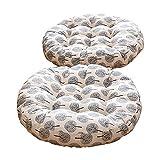 TMJJ Cotton & Linen Round Floor Pillow Cushion Japanese Style Futon Seat Cushion Thicken Chair Wave Window Pad 21' x 21',Set of 2