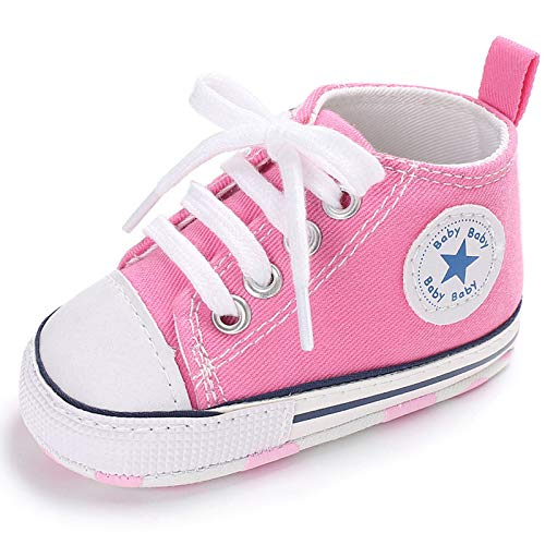 SOFMUO Unisex Baby Girls Boys High Top Ankle Canvas Shoes Soft Sole Toddler First Walker Infant Sneaker Newborn Crib Shoes(Pink,6-12Month)