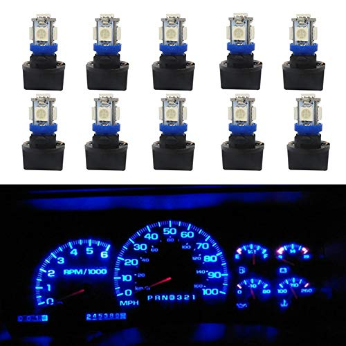 WLJH 10Pack Printed Circuit Base T10 194 168 LED Light Bulb PC194 PC195 PC160 PC161 PC168 Instrument Panel Gauge Cluster Dashboard Automotive Multi-Purpose Light Bulb Blue