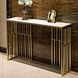 80CM/100CM Console Tables For Hallway Slim, Iron Art Marble Creative Wall Table Rectangle Console Table Home Dining Table(Size:80 * 25 * 75CM,Color:Golden)