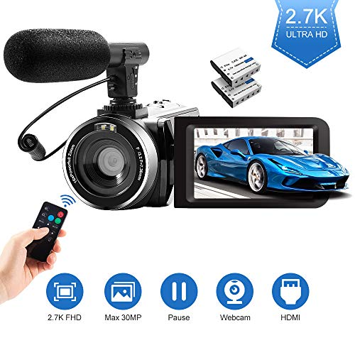 2.7K Camcorder, 30MP 1080P FHD-Videokamera, 3.0-Zoll-IPS-Touchscreen 16X Digitalzoom, Digital Video-Camcorder mit Externem Mikrofon Fernbedienung 2 Batterien für YouTube Vlog Live Streaming