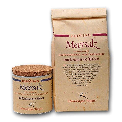 Sanquell GmbH Khoysan-Meersalz | mit Kräuter & Blüten | handgeschöpft | besonders rein | eines der besten Salze der Welt |1kg Nachfüllbeutel & 200g Deko-Box (gefüllt)