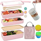 Bento Box Japanese Lunch Box Kit (11 PCS) 3-In-1 Compartment, Leak-proof Bento Lunch Box Meal Prep Containers with Utensils, Bento Boxes for Adults/Kids (Pink)