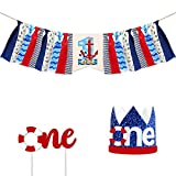 Anchor Nautical Theme Baby 1st Birthday Decorationfor Kids First Birthday Party Supplies High Chair Premium Decoration Set( Crown Hat,Cake Topper,Banner)