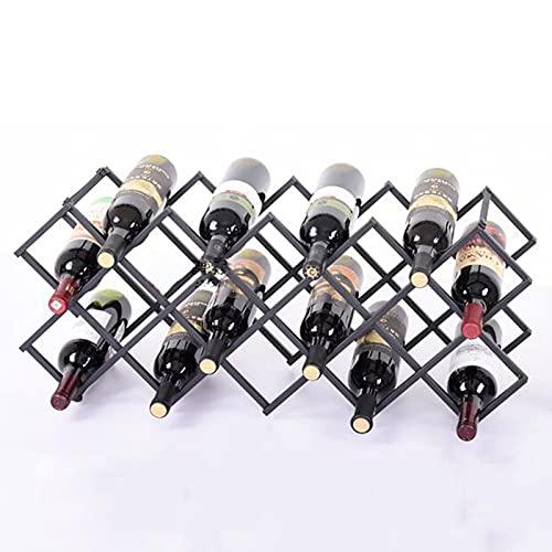 BaoGuona Estante de Vino, Estante de Botellas de Vino Horizontal, Estante de Vino de Hierro Forjado de Metal Puede soportar libremente, Bastidor de Vino de Escritorio 18, ensamblado, fácil de Colocar