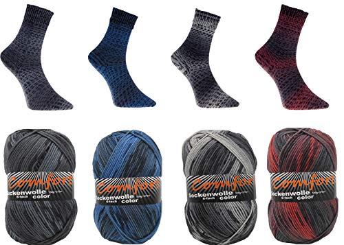 Sockenwolle Strumpfwolle Comfort Color 4x150gr 6-fädig Color 150gr 375m/LL 600gr für besonders warme Füße Set Bunt 1966.5-8