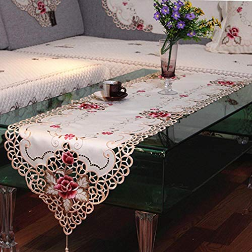 Coner geborduurde pioen satijn stof opengewerkt tafelloper dressoir sjaal thuis hotel bruiloft banket decor, 40x220cm