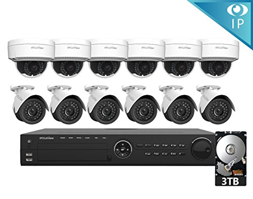 LaView 12 1080P IP Camera Security System 16 CH 1080P IP PoE NVR w/3TB HDD & 6 IP Bullet, 6 IP Dome 2MP Camera