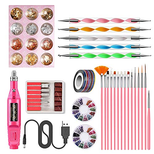 Anself Nail Art Tools Kit - Electric Nail Drill Machine Set, 15pcs Painting Brushes, 5pcs Dotting Pen, 10rolls Gold & Silver Line, 2colors Diamond Disc and 12colors Tin Foil Paper, Nail Design Tools