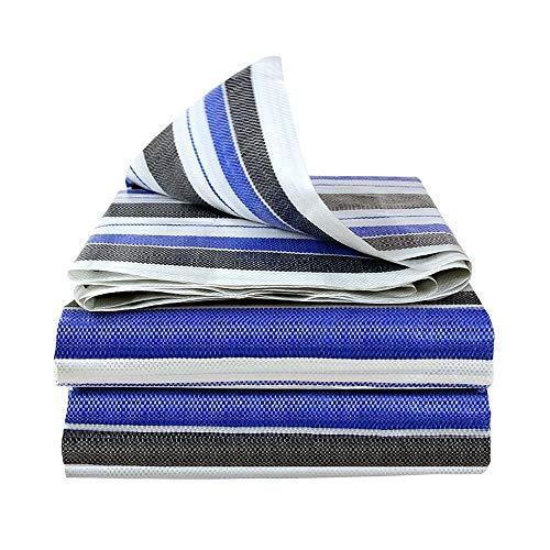 CSQHCZS-FSB dekzeil, drie kleurstroken schaduw kunststof dekzeil, dubbelzijdig waterdicht, dik en draagbaar, voor overkapping gebruikt op de camping | buiten | erf | carport | schip | Etage | A+