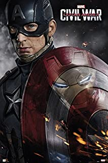 Captain America 3: Civil War - Marvel Movie Poster/Print (Captain America - Solo with Shield) (Size: 24 inches x 36 inches)
