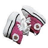 Zapatos de ganchillo para bebé, color rosa, talla 18/19
