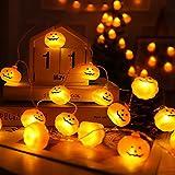Luci Halloween Zucca Stringa,7.5m 30 LEDs,Con telecomando,Smiley Zucca Lanterna , 8 Modalità,Può essere commutata a volontà,Usato per Halloween Decora