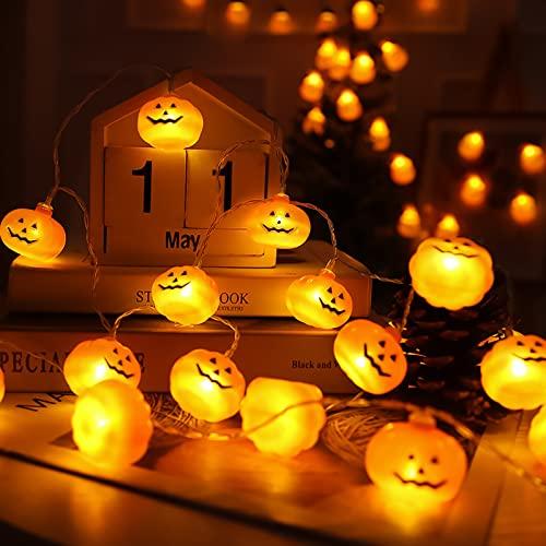 Cadena de la linterna de calabaza de Halloween,30 linternas de calabaza LED,7.5m,Con telecomando,alimentado con baterías,8 modos de luz,para fiesta de halloween decorare