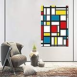 JIAYOUHUO Cuadros de cuadrícula de Pintura Abstracta de Piet Cornelies Mondrian Impresiones Modernas de la Lona Arte de la Pared para la Sala de Estar Cuadros Decoración Sin Marco 40x60cm