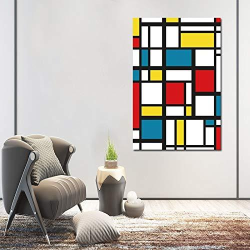 Geen lijstAbstract schilderij raster foto's door Piet Cornelies Mondriaan moderne canvas prints kunst aan de muur voor woonkamer Cuadros decoratie50x70cm