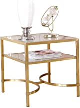 Sofa Side Table End Tables Stainless Steel 2 Tier Couch Table, Living Room Office Bedside Square Small Reading Table, Glas...