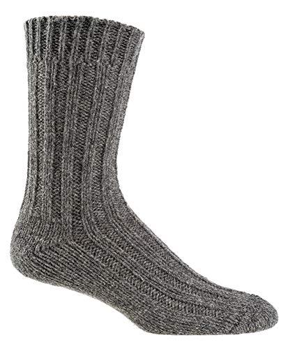 2 pares de calcetines de punto con alpaca y lana de oveja 100% fibras naturales 35-38, 39-42, 43-46 gris 35-38