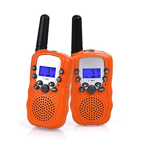 Funkprofi Walkie Talkies für Kinder, T-388 Funkgeräte für Kids ab 3 Jahre PMR 446 Reichweite bis zu 3 km 8 Kanäle für Einkaufen, Freizeitpark, Zelten, Shopping, Indoor – gespräch 2 Stück Orange
