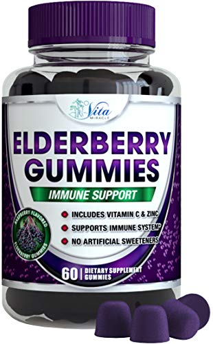 Sambucus Elderberry Gummies Adults Kids - with Zinc and Vitamin C Immune Support for Adult and Children Black Elderberry Gummy Organic Vegan Natural Formula 60 Count