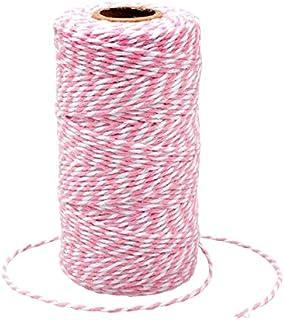 G2PLUS 100M Rosa und Weiß Baumwolle Schnur, Bäcker Bindfäden Bastelschnur Dekokordel Schnur Perfekt für DIY Kunstgewerbe Gartenarbeit