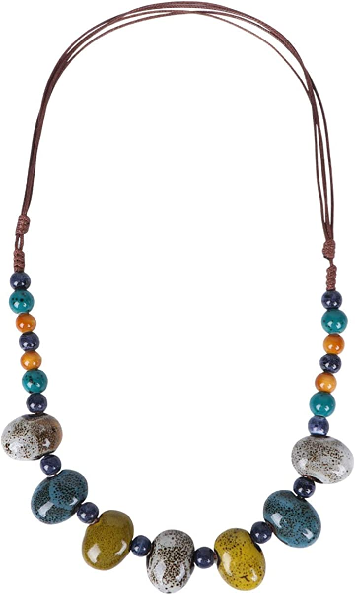 Happyyami Boho Beaded Necklace Bohemia Style Chunky Collar Choker Necklace Pendants Traditional Style for Women (Blue)