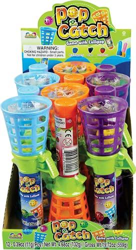 DOK Pop & Catch Fangballspiel - leckerer Lutscher im Stiel - drei Geschmacksrichtungen, 12 g