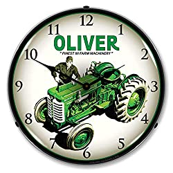 Oliver Super 55 Farm Tractor Finest in Farm Machinery LED Wall Clock, Retro/Vintage, Lighted, 14 inch