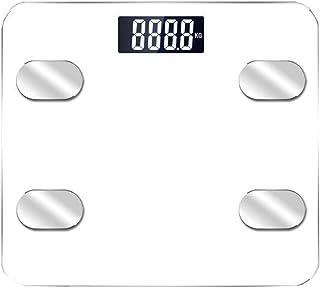 Cajolg Báscula de Grasa Corporal Bluetooth Báscula analizadora Corporal Pantalla Digital Báscula electrónica para Pesar con precisión Fácil Almacenamiento,Blanco