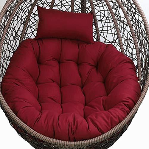 Cojín para silla de huevo solamente, cojín de silla Papasan, cojín grueso para colgar en la silla, cojín antideslizante para colgar al aire libre, cojín de silla de ratán rojo vino GJXJY