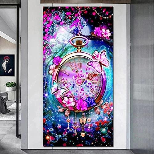 Diamond Painting,Diamond Painting Kit Completo,Mariposa Reloj Diamond painting disney,pintura diamante,adultos y niños pintar con diamantes,bordado de punto de cruz para decoración de pared 60x30cm