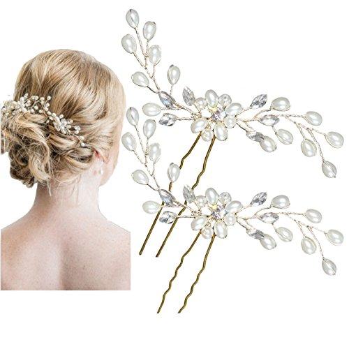 Miya YY15 Paire d'épingles à cheveux ultra glamour ornées de magnifiques fleurs avec perles et cristaux Accessoires de coiffure de mariage