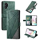 QiongNi Case for Samsung Galaxy Note 10+ Case Cover,Case for Samsung SM-N975F/DS Galaxy Note 10+ / SM-N975U1 SM-N975U SM-N975F SM-N975W SM-N975C SM-N9750 Case Flip Pu Leather Cover Green