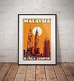 AZSTEEL Vintage Poster Malaysia Kuala Lumpur Petronas
