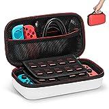 Keten Funda para Nintendo Switch, Última Versión de Estuche de Transporte para Consola Nintendo Switch, Juegos, Joy-con y Carcasa Dura para 19 Cartuchos de Juegos (Rojo y Blanco)