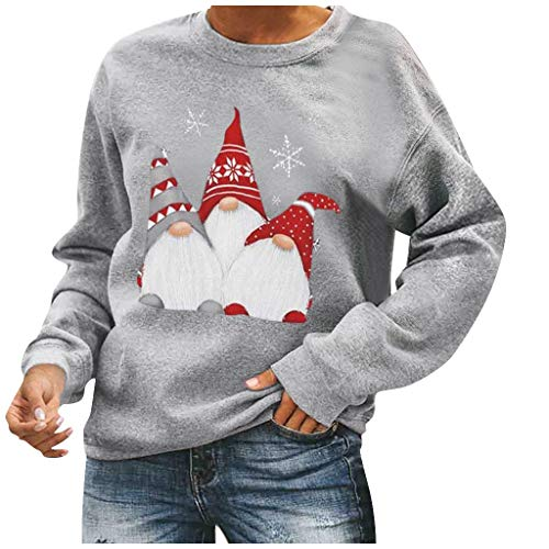 Christmas Sweatshirt for Women Cute Santa Claus Print T-Shirt Long Sleeve Graphic Crewneck Pullovers Tee Casual Tops Gray