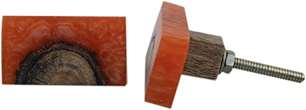 Indian-shelf Handmade 1.75 Inch Resin Rectangle Cabinet/Wardrobe/Cupboard Pulls (Orange, 4-Piece)